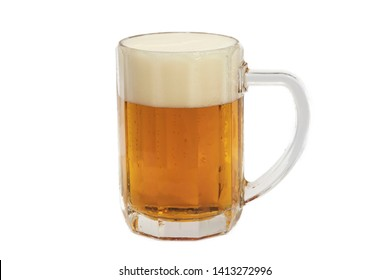 A pint of light beer taped on a smooth surface on a light background