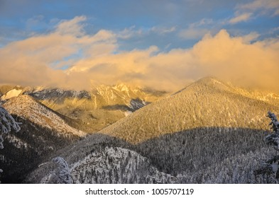 Pinto Mountain in the Rocky Mountains at sunset in winter, British Columbia, Canada