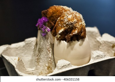 """Pintxo"" Chicken snak in Pamplona city Spain"