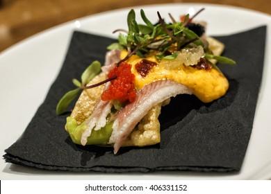 """Pintxo"" Fish snak in Pamplona city Spain"