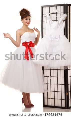 Pinup Bride Standing Near Folding Screen Stock Photo (Edit Now ...