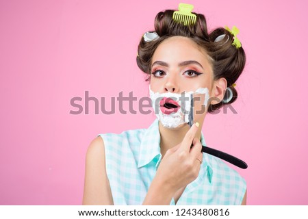 01f8f5b5a1 pinup girl with fashion hair. pin up woman with makeup. morning grooming  and skincare