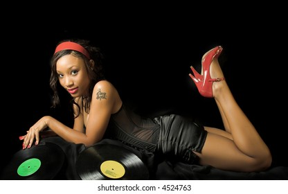 pin-up girl with records