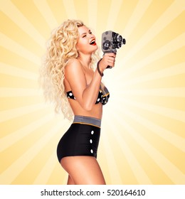 Pin-up girl shooting a movie with an old cinema 8 mm camera on cartoon style background.