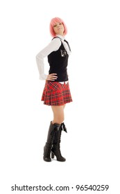 pin-up image of lovely schoolgirl with pink hair