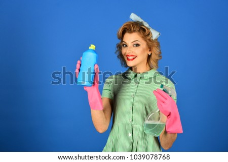 444b3ae353b Pinup Woman Hold Soup Bottle Retro Stock Photo (Edit Now) 1039078768 ...