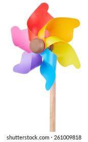 Pinwheel, colorful toy, isolated on white, clipping path included