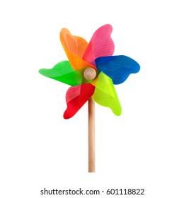 Pinwheel toy. Windmill multicolor garden wind spinner on white inside clipping path