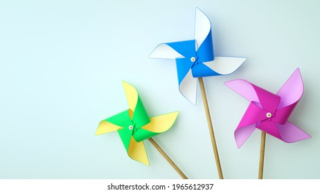 Pinwheels on white background with copy space.