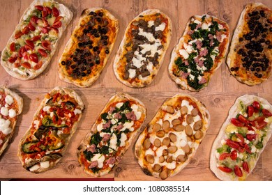 pinza roman typical pizza of rome with vegetables and meat cooked in an oven with wood rome italy