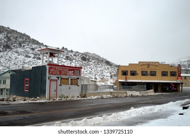 Pioche, Nevada USA January Sixteenth 2019. A Winter look at the original Volunteer Firehouse and historic Overland Hotel And Saloon on a cold Winter afternoon in Pioche Lincoln County Nevada