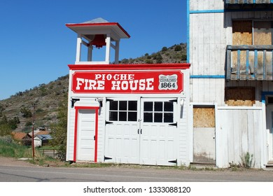 Pioche Nevada USA May 12, 2014 Original Volunteer Firehouse Of Lincoln County Nevada