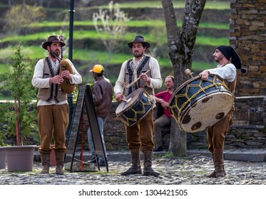 Piodao, Portugal - April 2018: folkloric music band at the central village square