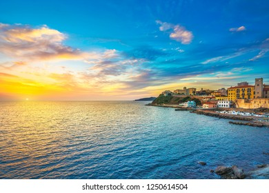 Piombino sunset view from piazza bovio. Maremma Tuscany Italy Europe.