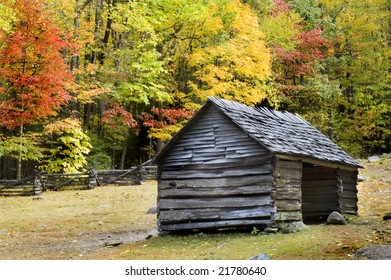 Pioneer era log cabin on ogle farm, located in the Great Smoky Mountains National Park