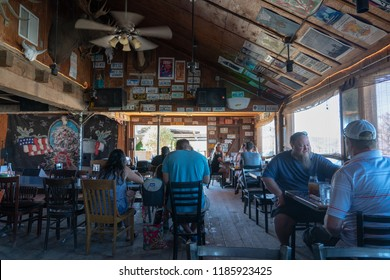 Pioneertown, CA - June 10, 2018: Interior of Pappy & Harriet's restaurant and music venue near Joshua Tree National Park in Pioneertown, California.