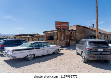 Pioneertown, CA - June 10, 2018: Exterior of Pappy & Harriet's restaurant and music venue near Joshua Tree National Park in Pioneertown, California.