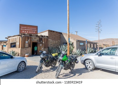 Pioneertown, CA - November 26, 2017: Exterior of Pappy & Harriet's restaurant and music venue near Joshua Tree National Park in Pioneertown, California.