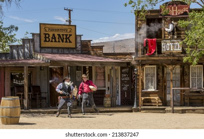 Pioneertown, California - Aug 10 2014: Scene from Gunfighters For Hire show on Mane Street