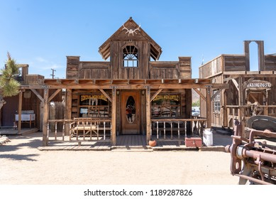 Pioneertown, California - June 10 2014: Exterior of General Mercantile and Trading Post in  Pioneertown, CA from Mane Street