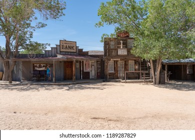 Pioneertown, California - June 10 2014: Exterior of Bank and Bath house in  Pioneertown, CA from Mane Street