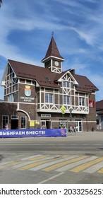 Pionerskii, Kaliningrad oblast, Russia - August 12 2021: Railway station Pionerskii kurort in Kaliningrad region
