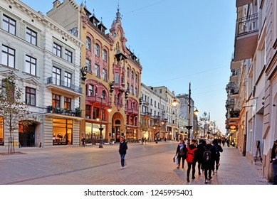 Piotrkowska Street, Lodz, Poland, October 11, 2018: A view of the main street of the city of Lodz, Poland