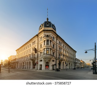 Piotrkowska Street in Lodz, Poland on the sunset. Main shopping street.