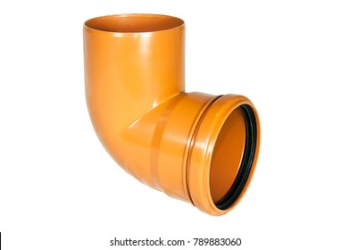Pipe bend, as an element of sewage pipe made of orange plastic with black rubber seals. Isolated on white background. Valve production.