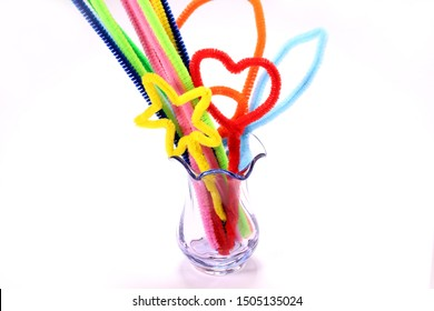 pipe cleaners  into the glass