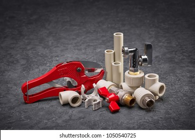 Pipe cutting shears, plumbing tools, spare parts for water supply, autonomous heating, accessories for construction work, plastic water pipe junctions.