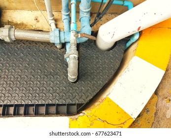 Pipe drain  in gutter.