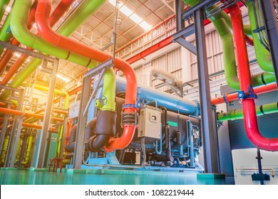 Pipe and equipment of chiller package used for building cooling supply