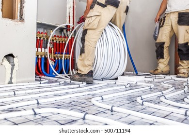 Pipe fitter mounted underfloor heating. Heating system and underfloor heating.