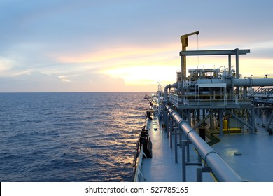 Pipe line on crude oil tanker in the gulf or the sea, The world energy, Offshore oil and rig construction.