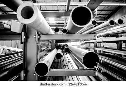 Pipe and Metal Tube  on a rack in a factotry