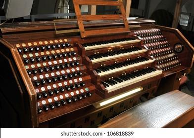 Pipe organ in church