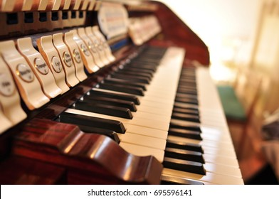 Pipe organ keyboards - console close up