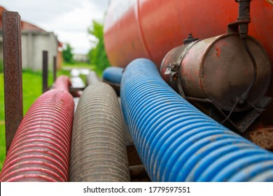 Pipe of a Sewage Pumping Machine. Providing Sewer Cleaning Service Outdoor.