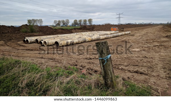 Pipe storage of used gas pipelines which have been replaced. many countries in the world have embarked on an energy transition. The Netherlands, March 2019