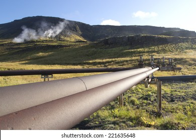 The pipe system supplying geothermal energy in Iceland