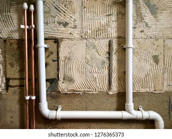 Pipe work, drains and water supply - conceptual image of plumbing
