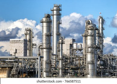 Pipe work of an oil refinery plant.