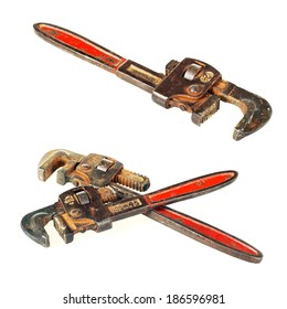 Pipe wrench on white background