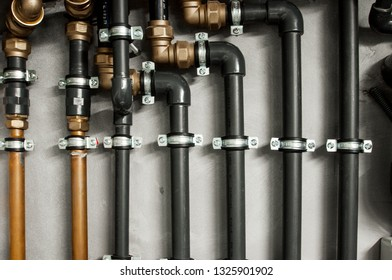 pipel connections in a residential building.  Industrial pipeline.