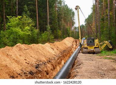 Pipelaying crane lowers a section of pipe into a trench. Construction of gas pipeline to new LNG plant. Side boom operation install natural gas pipeline and oil pipes.  Small sharpness, granularity