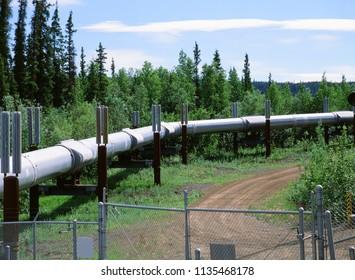 Pipeline by Dalton Highway, Alaska - Pipeline carrying oil across Alaska, from Deadhorse to Valdez, USA