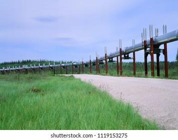 Pipeline by Dalton Highway,  Pipeline carrying oil across Alaska, from Deadhorse to Valdez