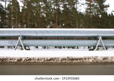 pipeline on the background of a green forest