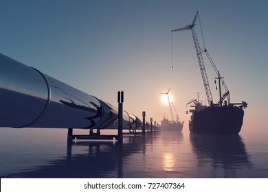 Pipeline in the sea. ,3d render